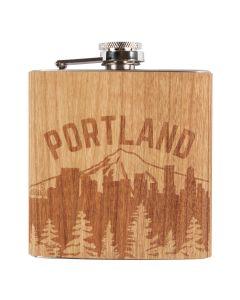 Portland Skyline Wood Wrapped Flask