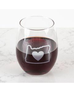 Heart in Oregon Stemless Wine Glass