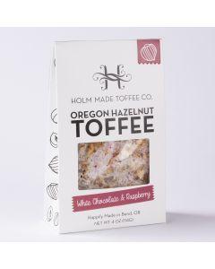Oregon Hazelnut Toffee - White Chocolate & Raspberry, Holm Made Toffee Co 4oz