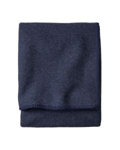 Pendleton Navy Eco-Wise Washable Wool Blanket, Queen Folded