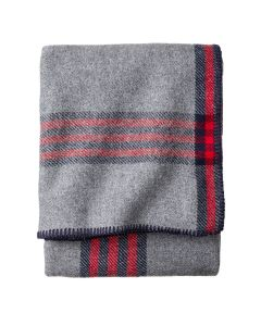 Pendleton Grey and Red Plaid Eco-Wise Blanket, Queen Folded