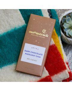 Hazelnut and Chai Dark Chocolate Bar, Moonstruck 3oz Lifestyl