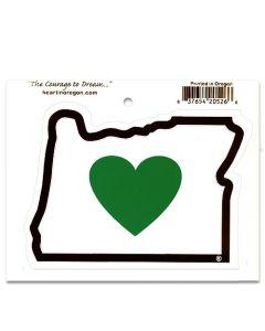 Heart In Oregon Sticker 4.5 in.