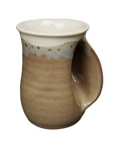 Clay in Motion Desert Sand Handwarmer Mug, Right Hand
